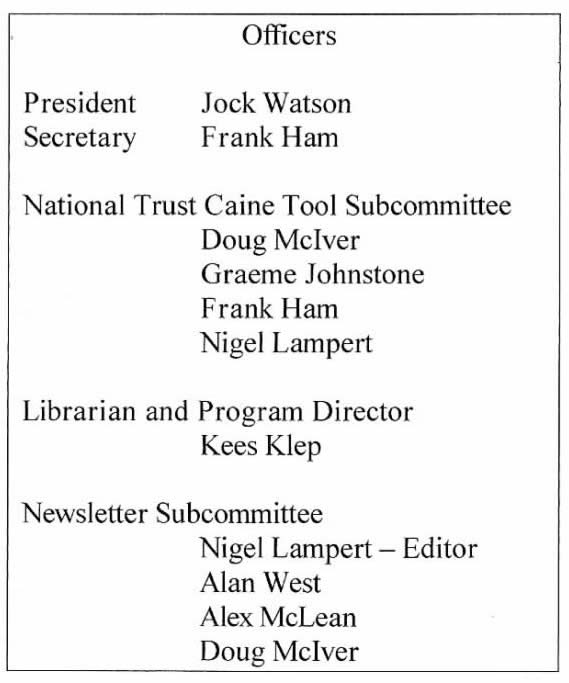 Original Officers as listed in the first HTPA newsletter