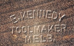 Close-up of mark on toe of a Kennedy plane