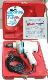 "Wolf Sapphire 73 2-speed Drill, 3/8"" capacity in original tote"